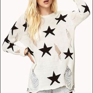 Forever 21 distressed star sweater